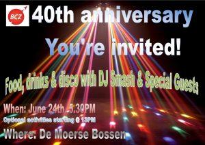 BCZ40jaar uitnodiging voorkant